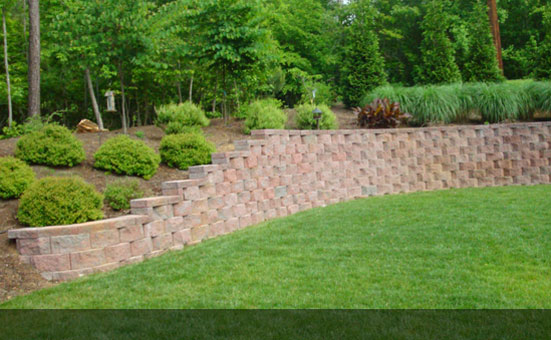 Retaining walls create space for the kids to play